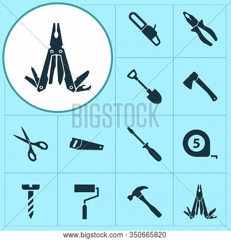 Handtools Icons Set With Pliers, Bolt, Shovel And Other Turn-screw Elements. Isolated Vector Illustr