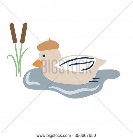 Cute Cartoon Duck On A Pond Vector Illustration. Bird On A Lake.