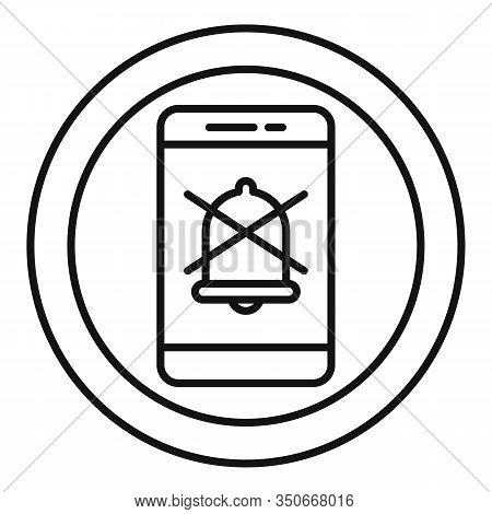 Smartphone Silence Icon. Outline Smartphone Silence Vector Icon For Web Design Isolated On White Bac