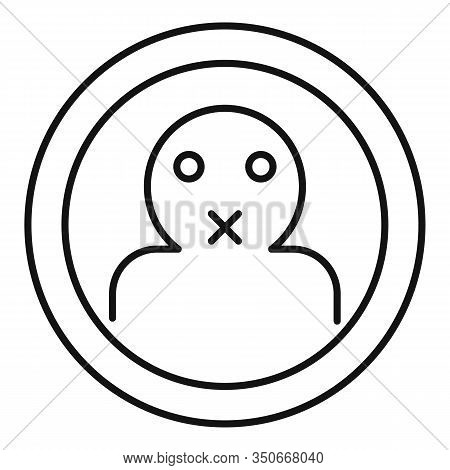 Keep Silence Icon. Outline Keep Silence Vector Icon For Web Design Isolated On White Background