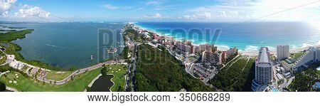 Cancun beach Iberostar Selection Cancun Resort, Seadust Cancun Family Resort and Laguna Nichupte Lagoon panorama aerial view, Cancun, Quintana Roo QR, Mexico.