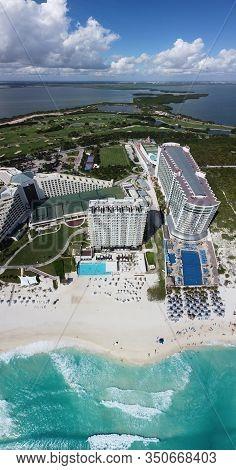 Cancun beach and Iberostar Selection Cancun Resort, Seadust Cancun Family Resort aerial view, Cancun, Quintana Roo QR, Mexico.