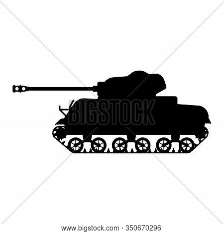 Silhouette Tank American World War 2 M4 Sherman Medium Tank Icon. Military Army Machine War, Weapon,