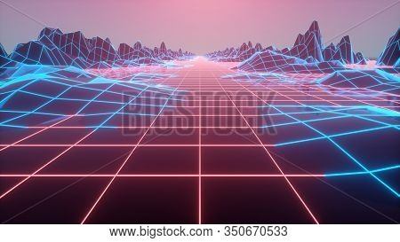 Retro Futuristic Background 1980s Style. Digital Landscape In A Cyber World. 3d Illustration.