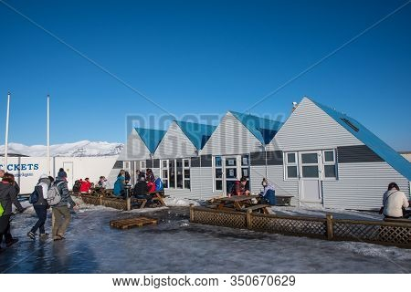 Jokulsarlon Iceland - February 17. 2019: The Cafeteria At Jokulsarlon Glacier Lagoon On A Sunny Wint