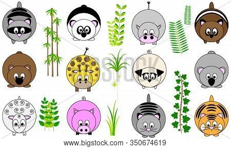 Collection Of Twelve Cute Funny Vector Illustrated Sticker Icon Buttons Of Round Animals With Tail A