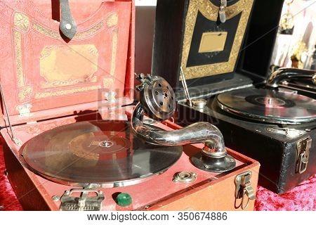 Vintage Gramophone In Swap Meet