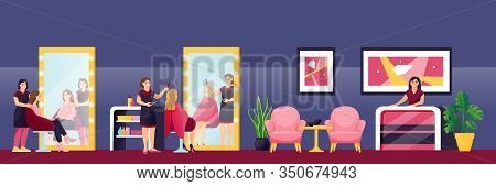 Young Beautiful Girls Cut Their Hair And Styling At Hairdresser Stylist In Beauty Salon. Vector Flat