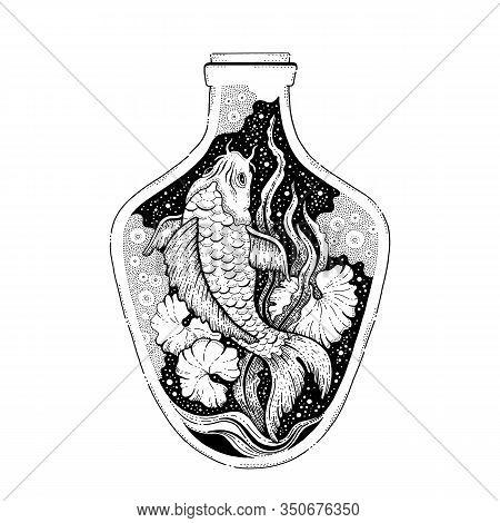Japan Koi Fish Tattoo, Water Animal Design Concept. Koi Fish Black Line Art, Hipster Boho Style. For
