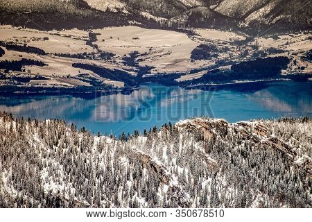 Snowy Winter Lake Liptovska Mara From Above, Slovakia. Region Liptov, Slovakia