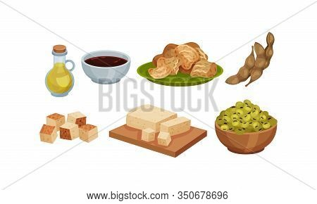 Soya Products And Foodstuff With Bean Pods And Sliced Tofu Rested On Cutting Board Vector Set