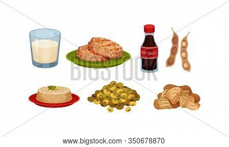 Soya Products And Foodstuff With Bean Pods And Tofu Rested On Plate Vector Set