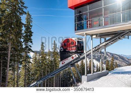 Demanovska Dolina, Slovakia - February 8: Funicular  Twinliner Cabin Top Station In Ski Resort Jasna