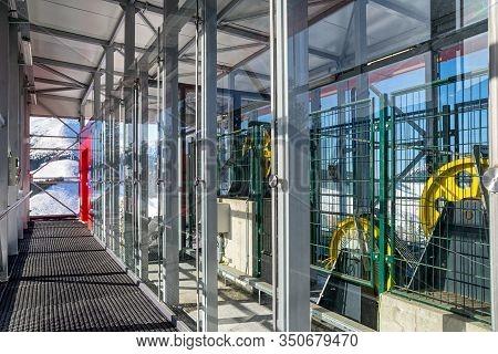 Demanovska Dolina, Slovakia - February 8: Inside Of Funicular Twinliner Top Station In Ski Resort Ja