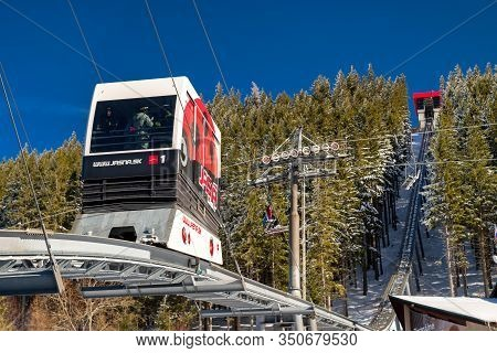Demanovska Dolina, Slovakia - February 8: Funicular Twinliner Cabin And Top Station In Ski Resort Ja