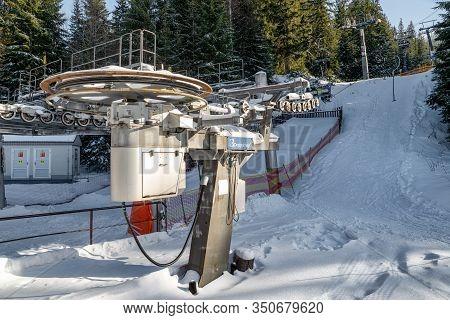 Demanovska Dolina, Slovakia - February 8: Surface Platter Lift In Resort Jasna In Low Tatras Mountai