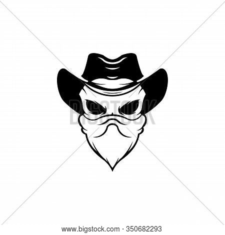 Human  Hat And Eyepatch,vintage Logo, Skull Tattoo Template Design,skull Bandits