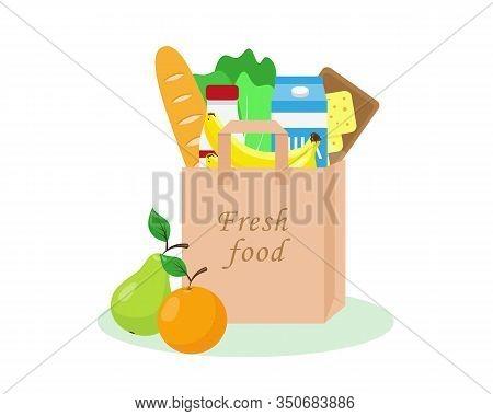 Paper Bag Full Of Fresh Grocery. Fresh Food In Shopping Bag. Vector Illustration.