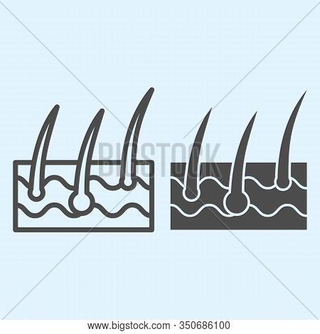 Epidermis Line And Solid Icon. Body Hair Follicle And Dermatology. Health Care Vector Design Concept
