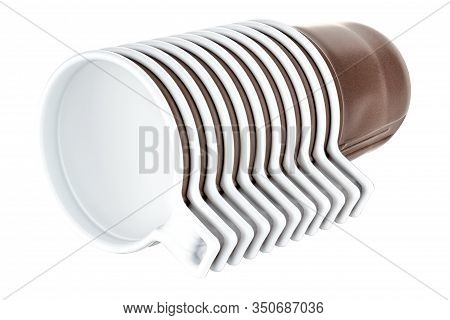 Lying Set Of Eleven Unused Disposable White Plastic Mugs With Brown Satin Texture On The Outside Iso