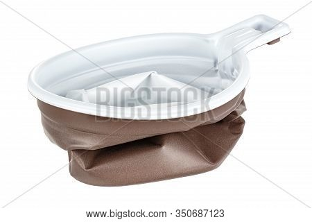 Crushed Unused Disposable White Plastic Mug With Brown Satin Texture On The Outside Isolated On Whit