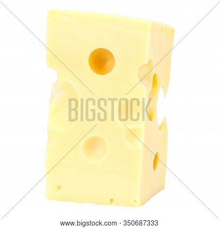 Standing Rectangular Piece Of Maasdam Cheese Isolated On A White Background
