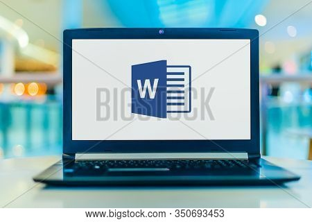 Poznan, Pol - Jan 30, 2020: Laptop Computer Displaying Logo Of Microsoft Word, A Word Processor Deve