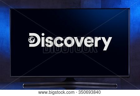 Poznan, Pol - Feb 04, 2020: Flat-screen Tv Set Displaying Logo Of Discovery Channel, An American Pay