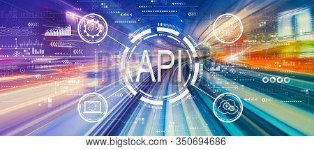 Api - Application Programming Interface Concept Api Concept With Abstract High Speed Technology Pov