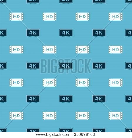 Set Screen Tv With 4k Ultra Hd Video Technology And 4k Movie, Tape, Frame On Seamless Pattern. Vecto