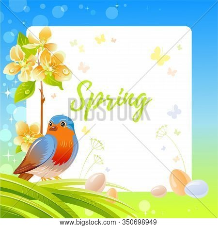 Spring Frame With Cherry Blossom Flower, Robin Redbreast Bird, Egg, Garden Element. Cute Catroon Ban