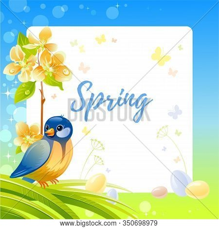 Spring Frame With Cherry Blossom Flower, Tit Bird, Egg, Garden Element. Cute Catroon Card With Titmo