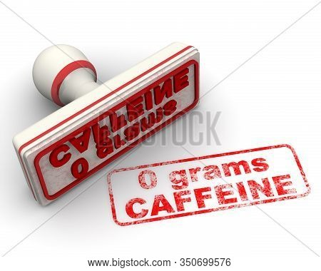 Zero Grams Caffeine. No Caffeine Stamp. The White Seal And Red Imprint 0 Grams Caffeine (caffeine Is