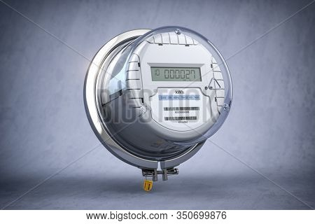 Digital electric meter with lcd screen  on grey dirty background. Electricity consumption concept. 3d illustration