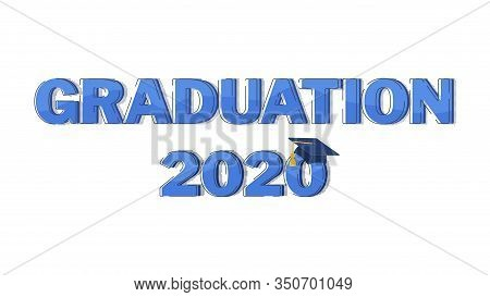 Halftone Word Graduation On White Background. Typography Vector Concept. Congratulation Graduates 20