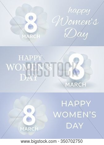 March 8 International Women's Day Banner. Set Of Spring Holiday Gretting Cards