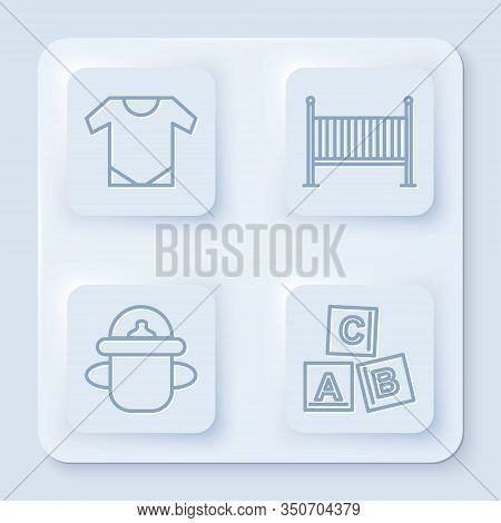 Set Line Baby Onesie, Baby Crib Cradle Bed, Baby Bottle And Abc Blocks. White Square Button. Vector