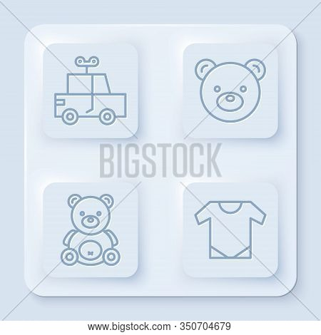 Set Line Toy Car, Teddy Bear Plush Toy, Teddy Bear Plush Toy And Baby Onesie. White Square Button. V
