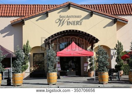 Los Angeles, California / USA - 2-12-2020: San Antonio Winery entrance. San Antonio Winery makes and sells wine World Wide from its location in Los Angeles California. Editorial use only.