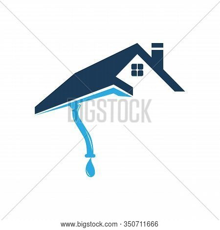 Gutter And House Roof Logo Template. Roof Downspout Vector Design. Gutter Services Logotype