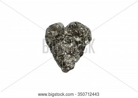 Mineral Pyrite In The Shape Of A Heart On A White Background