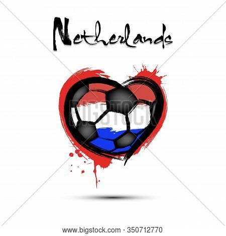 Abstract Soccer Ball Shaped As A Heart Painted In The Colors Of The Netherlands Flag. Flag Netherlan