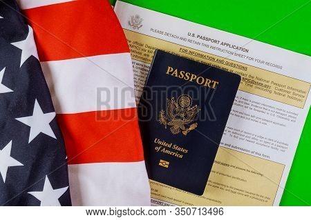 Applying Form New Passport For U.s. Passport Application, Flags Of Usa Lying At Passport