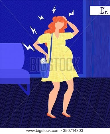 Vector Flat Illustration Shows Pregnant Woman At Doctor S Appointment. She S Waiting Her Turn. She H