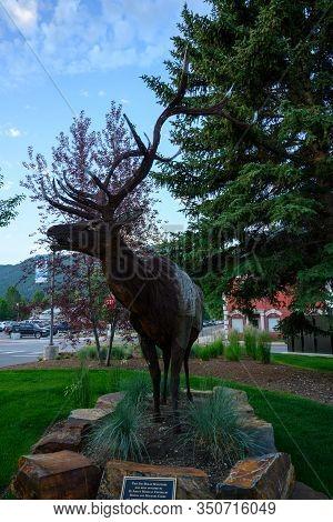 Jackson Hole, United States: July 22, 2019: Metal Elk Sculpture In Jackson