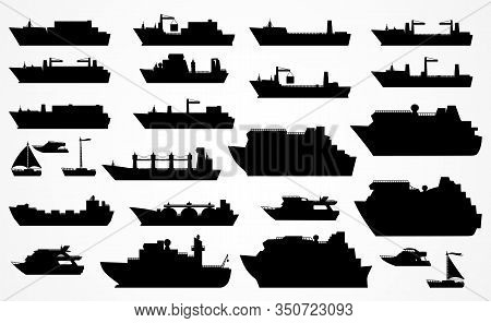 Vector Set Of Different Ships: Dry Cargo Ships, Container Ships, Tanker, Bulk Carrier, Dry Cargo Shi