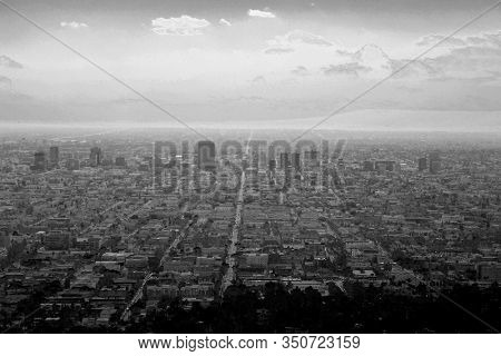 Los Angeles California. View of Los Angeles California. City Views of the Big City in LA. Buildings, Homes, Sky Scrapers and Roads make up the city of LA and state of California. Black & White.