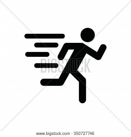Running People Sign Icon In Flat Style. Run Silhouette Vector Illustration On Isolated Background. M