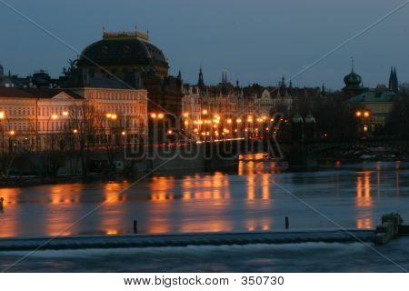 Prague National Theatre At Night