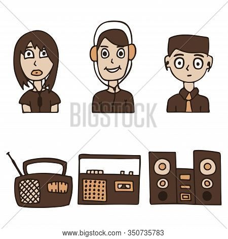 A Vector Illustration Of A Boy And A Girl Listening To Music On The Radio And Music Center. White Ba